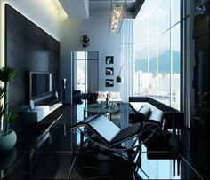 salon ultra moderne en noir - Salon Ultra Moderne