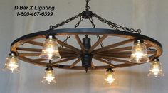 These custom, hand-crafted wagon wheel chandeliers with downlights by D Bar X Lighting create a rustic atmosphere in any decor. Wagon Wheel Chandelier Diy, Outdoor Chandelier, Rustic Chandelier, Wagon Wheel Light, Wagon Wheel Decor, Farmhouse Lighting, Rustic Lighting, Deck Lighting, Western Decor