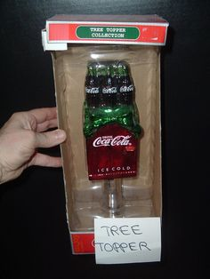 GLASS Coca Cola Soda Pop Coke Christmas Tree TOPPER 1 FOOT TALL MIB