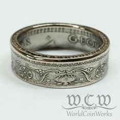 These rings are hand made from high-quality silver Indian 1/2 Rupee coins dated between 1942 and 1944. The edges of these rings will be shaped and