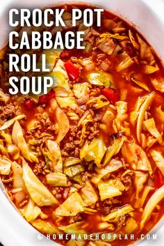 This easy crock pot cabbage roll soup gives you all… Crock Pot Cabbage Roll Soup! This easy crock pot cabbage roll soup gives you all…,{ Most Nomable Recipes. Crockpot Cabbage Roll Soup, Unstuffed Cabbage Roll Soup, Crock Pot Cabbage, Cabbage Soup Recipes, Cabbage Soup Diet, Crock Pot Soup, Easy Soup Recipes, Slow Cooker Soup, Delicious Dinner Recipes