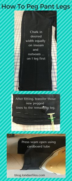 Step-by-Step how to narrow (peg) the legs on a pant including the best FREE seam pressing tool ever!