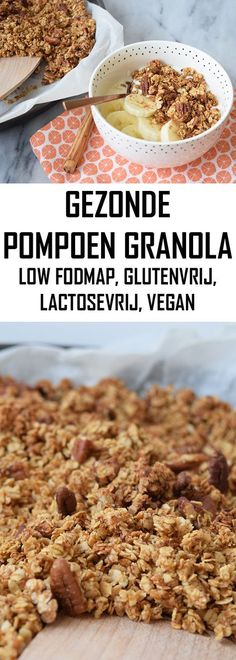 Healthy pumpkin granola (low FODMAP, gluten-free, lactose-free, vegan) The best healthy cereal ever! With pumpkin, pumpkin spice and pecans. Pumpkin Granola, Pumpkin Spice Syrup, Pumpkin Pumpkin, Lactose Free Diet, Vegan Gluten Free, Fodmap Breakfast, Breakfast Recipes, Healthy Cereal, Healthy Snacks