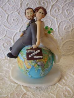 Personalized travelling bride and groom wedding by Abracadabrakr, $155.00