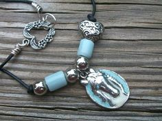 Blue Horse and Silver Heart Necklace by BirdysNest on Etsy, $22.50