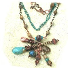 hubei turquoise drop dangle necklace by rocksandpaperswans on Etsy