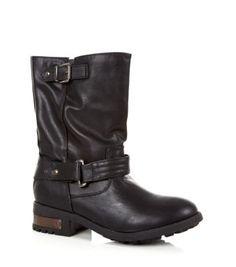 Black Leather-Look Calf High Biker Boots