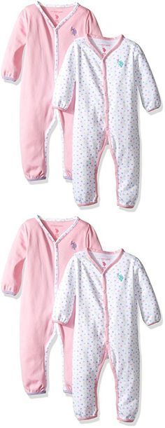 U.S. Polo Assn. Girls' 2 Pack Long Sleeve Sleepers Or Play Rompers, Delta Purple, 6/9M