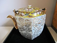 Moriage Japan Raised Painted Teapot, Metal Handle, Mint Condition by MySimpleDistractions on Etsy