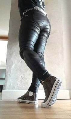 Kiss my ass! Mens Leather Pants, Biker Leather, Sportswear, Tights, Boots, Sexy, Kiss, How To Wear, Clothes