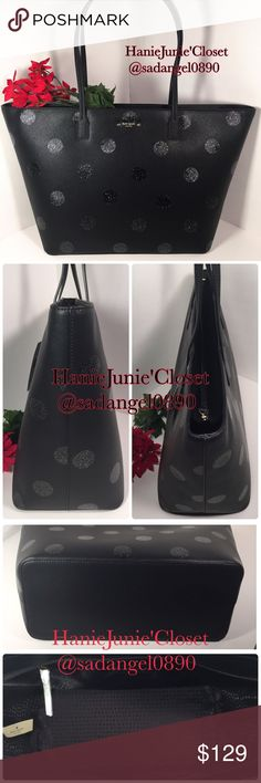 "🎄🆕KATE SPADE MARGARETA HAVEN LANE BLACK TOTE ❥Color: sparkle dot black  ❥Material: SAFFIANO  ❥Measurment: 12"" bottom-18"" top-12""-6"" ❥Real photo 📷 taken from me ❥Brand new✨, never used. 100% authentic  ❥Tag and care card are included ❥Pack with care📦and ship✈️right away ❥Freegift🎁included with purchase $100 ❥🚫TRADE🚫HOLD🚫LOWBALL ❥15% OFF FOR BUNDLES ❥REASONABLE OFFERS WILL BE ACCEPTED. Follow me on IG: @hanie.junie kate spade Bags Totes"