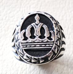 vintage style king royal crown men ring heavy by AbuMariamJewels
