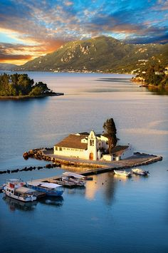 Greek Orthodox Convent of Vlachernas, Kanoni, Peninsula, Corfu Greek Ionian Islands. Corfu is a stop on my upcoming cruise. Mykonos, Santorini, Dream Vacations, Vacation Spots, Places To Travel, Places To See, Wonderful Places, Beautiful Places, Thasos
