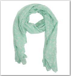 Jennyfer  foulard vert d'eau imprimé oiseaux