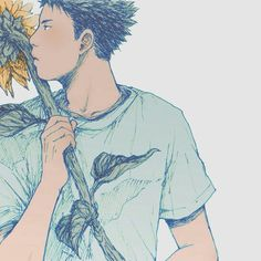 "soltreis: ""when the sun fades to blue (+) "" All Anime, Anime Guys, Anime Art, Bear Wallpaper, Couple Wallpaper, Indian Art Paintings, Flower Boys, Couple Art, Tumblr"