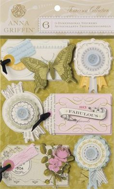Anna Griffin 3-D Stickers Tags (Francesca Collection)