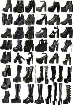 Female boots and gothic shoes reference images Female boots and gothic shoes reference images Gothic Outfits, Edgy Outfits, Grunge Outfits, Cool Outfits, Grunge Boots, Fashion Design Drawings, Fashion Sketches, Teen Fashion Outfits, Fashion Shoes