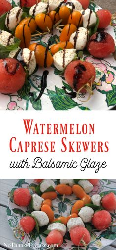 Watermelon Caprese Skewers with Balsamic Glaze