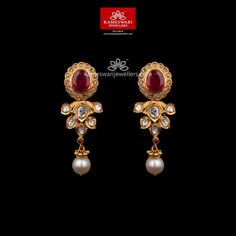 Mesmerizing collection of gold earrings from Kameswari Jewellers. Shop for designer gold earrings, traditional diamond earrings and bridal earrings collections online. Jewelry Design Earrings, Gold Earrings Designs, Gold Jewellery Design, Buy Earrings, Earrings Online, Fancy Jewellery, Gold Designs, Emerald Jewelry, Small Earrings