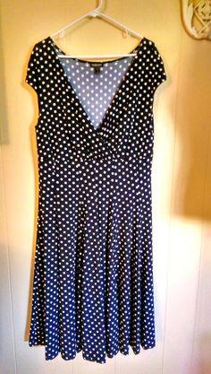 FOREVER WOMAN Plus Size Dress 2x Size 20 Stretch A-Line Black & White Polka Dot #Foreverwoman #AsymmetricalHem