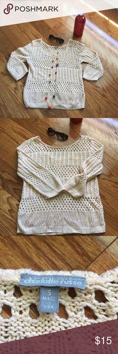 Charlotte Russe crocheted sweater Beige Charlotte Russe crocheted sweater size small, smoke free home, no rips or tears 🌸🌹 Charlotte Russe Sweaters