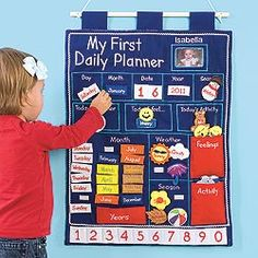 Looks fun and perfect for our little ones! Wall Hanging Daily Planner for Kids! Now our charming, embroidered first planner offers even MORE! It not only teaches the calendar, seasons, and weather, it helps kids plan their day and express their moods. Toddler Calendar, Kids Calendar, Calendar Wall, Calendar Time, Daily Calendar, Learning Activities, Preschool Activities, Kids Learning, Planning Calendar