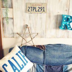 Lounge,ハンドメイド,流木,ナンバープレート,ジャーナルスタンダードファニチャー,アルファベットオブジェ,バターミルクペイント,板壁DIY,スター,流木オブジェ,カリフォルニアスタイル,RC九州支部,しゃれとんしゃあ会,サーフテイストが好き♡,journal standard Furniture,BEACH STYLE,beach house,西海岸風,スターオブジェのインテリア実例   RoomClip (ルームクリップ)