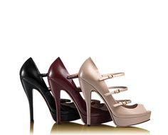 scarpa con plateau lisbeth tacco alto in vernice rosa, bordeaux e nera @gucci