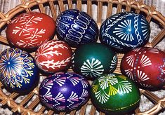 A basket of Lithuanian wax resist Easter eggs.