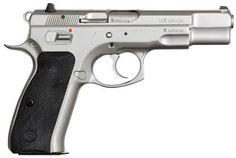 "CZ 75B Semi-Auto Pistol 91128, 9mm, 4.7"", Black Grip, Stainless Finish, 15 Rd, 3 Dot Sights"
