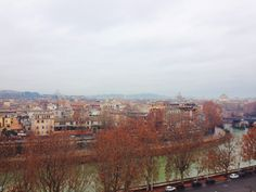 The Tiber River, as seen from Aventine Hill. Testaccio, Rome