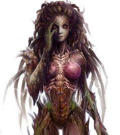 Commission: Starcraft tattoo design by on DeviantArt Kerrigan Starcraft, Starcraft 2, Dark Fantasy, Fantasy Art, Sarah Kerrigan, Tyranids, Cyberpunk Character, Stars Craft, Alien Vs Predator