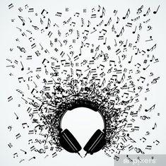 Illustration of Dj vinyl record music notes splash illustration. vector art, clipart and stock vectors. Music Drawings, Music Artwork, Art Music, The Sword, Tattoo Noten, Musik Illustration, Music Notes Art, Handout, Notes Design