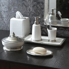 Arte Italica Venus Ceramic & Pewter Bath Accessories - Handcrafted pewter and crisp white ceramic are the ideal materials for luxurious bathroom accessories. Our extensive selection of items ensures that everything from toothbrushes to cotton balls will be stored in style. Handmade in Italy. Hand-wash only.