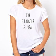 The Struggle Is Real Shirt Trendy Fashion T-Shirt Fangirl Shirt Teen... ($15) ❤ liked on Polyvore featuring tops, t-shirts, black, women's clothing, long sleeve shirts, sheer t shirt, t shirts, long shirts and crew neck t shirt
