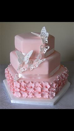 Cute cake for a baby girl shower or tea party, I think my theme will be vintage and butterflies.