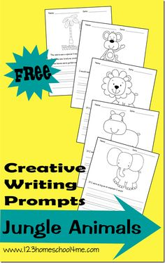 FREE Creative Writing Prompts: Jungle Animals. Includes a spot to color, prompt and lines to write.