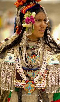 The amazingand unique costumes and jewelry of Ladakh on display as the local ethnic Ladakhis perform traditional dances in the shadow of the Himalayan moutnains