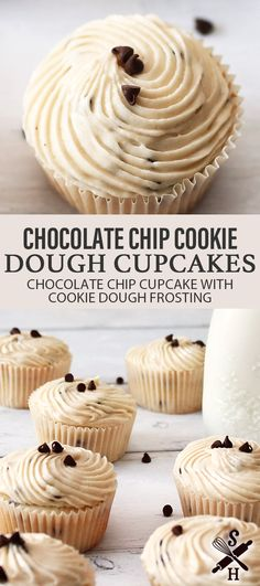 Party Recipes, Cupcake Recipes, Drink Recipes, Baking Recipes, Dessert Recipes, Chocolate Chip Cupcakes, Chocolate Chip Cookie Dough, Mini Chocolate Chips, Cookie Dough Cupcakes