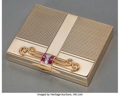 Silver Smalls, A Tiffany & Co. Art Deco 14K Gold, Ruby and Diamond Compac...