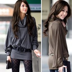 Women Elegant Grey Lantern Long Sleeve Loose Collar Mini Dress
