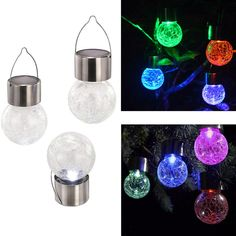 Glass Globe Solar Light Hanging Solar Colorful Lamp Glass Ball Light for Courtyard Lawn Garden #Affiliate