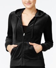Hippie Rose Juniors' Zip-Front Velour Hoodie - Black S
