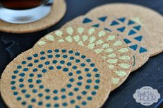 Housewarming Gifts: Stenciled Cork Coasters - Just Us Four
