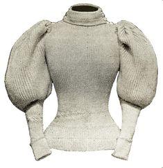 Victorian Fashion, Vintage Fashion, Leg Of Mutton Sleeve, Sweater Knitting Patterns, Knit Fashion, Fashion Fashion, Vintage Knitting, Vintage Sewing, Fashion Plates