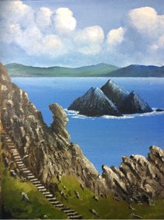 The Skellig Rocks: The Skellig Rocks Oil on canvas, a view from Skellig Michael overlooking Skellig Beag, off the Kerry coast.… #IrishArt