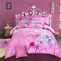 Svetanya Pink Sanding Cotton Bedding Sets thick warm Fabric Queen King Size Flora Printing Style Bedlinen Winter Quilt Cover Set