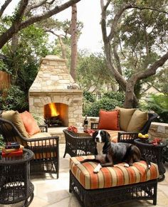An outdoor fireplace design on your deck, patio or backyard living room instantly makes a perfect place for entertaining, creating a dramatic focal point. Outdoor Rooms, Outdoor Gardens, Outdoor Living, Outdoor Furniture Sets, Outdoor Decor, Garden Furniture, Outdoor Patios, Outdoor Retreat, Outdoor Kitchens