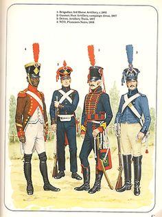 french uniforms, empire: 1) brigadier, horse artillery, 1805 2) Gunner, foot artillleru, 1807 3) Driver, artillery train, 1807 4) NCO, Pionners Noirs, 1808
