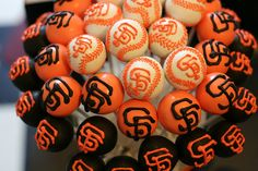 For my West coast family who love the Giants!    Cake Pop Display by Sweet Lauren Cakes, via Flickr